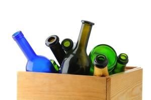 Box of Empty Wine Bottles